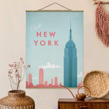 Stoffbild mit Posterleisten - Reiseposter - New York - Hochformat 3:4