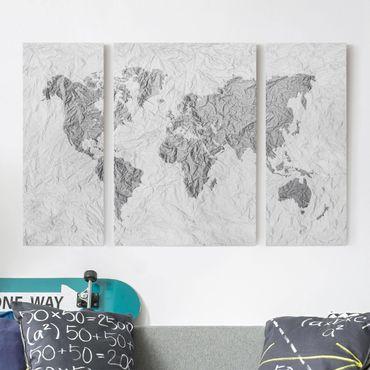 Leinwandbild 3-teilig - Papier Weltkarte Weiß Grau - Tryptichon