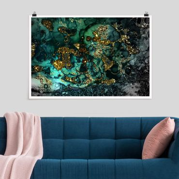 Poster - Goldene Meeres-Inseln Abstrakt - Querformat 2:3
