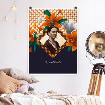Poster - Frida Kahlo - Lilien - Hochformat 3:4