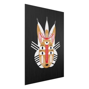 Aluminium Print gebürstet - Collage Ethno Maske - Hase - Hochformat 4:3