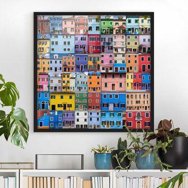 Bild mit Rahmen - Venezianische Häuser - Quadrat 1:1