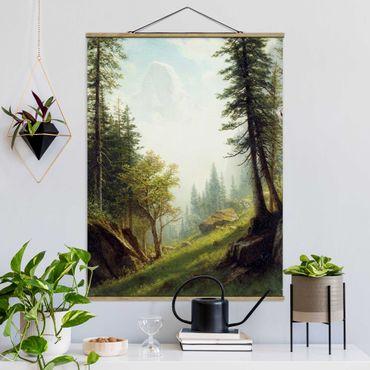 Stoffbild mit Posterleisten - Albert Bierstadt - In den Berner Alpen - Hochformat 3:4