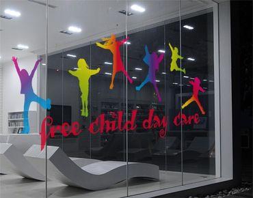 Fensterfolie - Fenstersticker No.JO68 Wunschtext Happy Kids - Fensterbilder