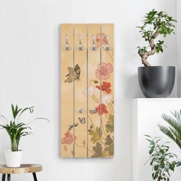 Wandgarderobe Holz - Yuanyu Ma - Mohnblumen und Schmetterlinge - Haken chrom Hochformat