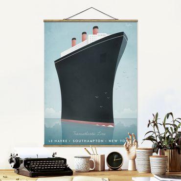 Stoffbild mit Posterleisten - Reiseposter - Kreuzfahrtschiff - Hochformat 4:3