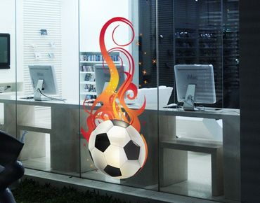 Fensterfolie - Fenstersticker No.EG5 FOOTBALL ON FIRE - Fensterbilder