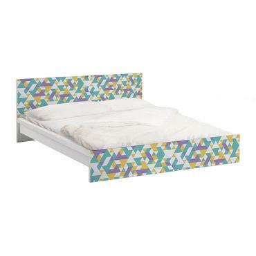 Möbelfolie für IKEA Malm Bett niedrig 140x200cm - Klebefolie No.RY33 Lilac Triangles