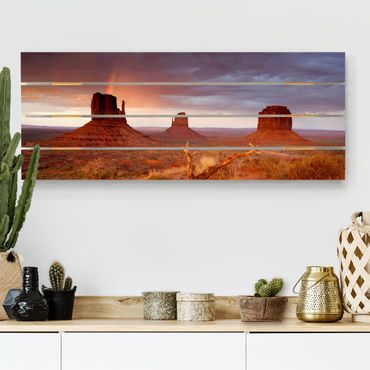 Holzbild - Monument Valley bei Sonnenuntergang - Querformat 2:5