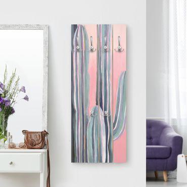 Wandgarderobe Holz - Kaktus auf Rosa I - Haken chrom Hochformat