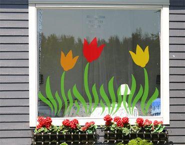 Fensterfolie - Fenstersticker No.CG34 Tulpenwiese - Fensterbilder