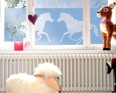 Fensterfolie - Sichtschutzfolie No.177 Zwei Pferde - Milchglasfolie