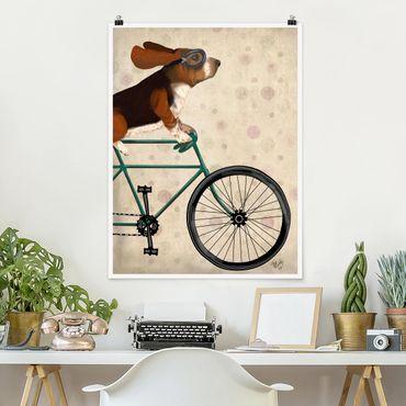 Poster - Radtour - Basset auf Fahrrad - Hochformat 3:4