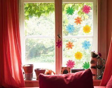 Fensterfolie - Fenstersticker - No.EG23 Kleine Sommerblüten - Fensterbilder Frühling