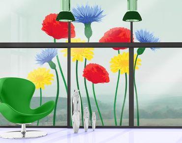 Fensterfolie - Fenstersticker - No.IS54 Sommerblumen - Fensterbilder Frühling