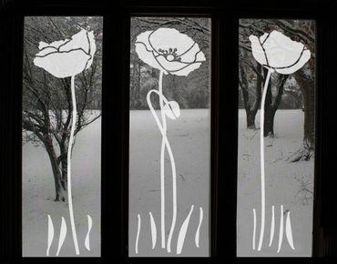 Fensterfolie - Fenstertattoo No.UL82 Drei Mohnblumen - Milchglasfolie
