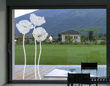 Fensterfolie - Fenstertattoo No.UL87 Mohnblumengruppe - Milchglasfolie