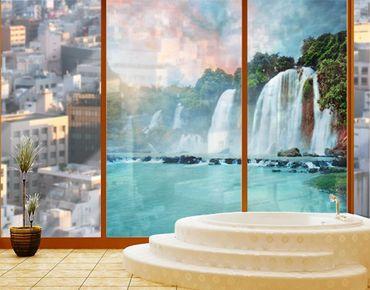 Fensterfolie - Sichtschutz Fenster Wasserfallpanorama - Fensterbilder