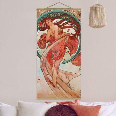 Stoffbild mit Posterleisten - Alfons Mucha - Vier Künste - Der Tanz - Hochformat 2:1