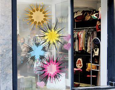 Fensterfolie - Fenstersticker No.610 Buntes Feuerwerk - Fensterbilder