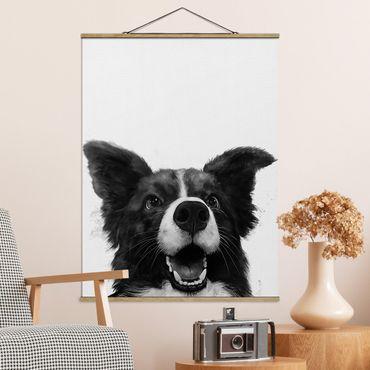 Stoffbild mit Posterleisten - Laura Graves - Illustration Hund Border Collie Schwarz Weiß Malerei - Hochformat 4:3