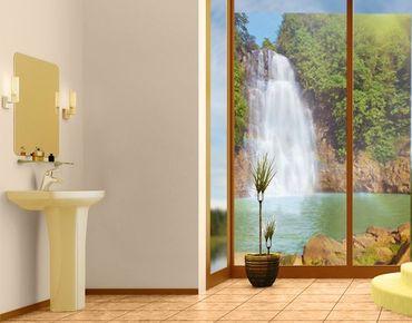Fensterfolie - Sichtschutz Fenster Wasserfall Romantik - Fensterbilder