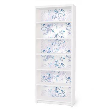 Möbelfolie für IKEA Billy Regal - Klebefolie Blaues Fantasiemuster