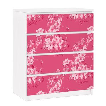 Möbelfolie für IKEA Malm Kommode - selbstklebende Folie Antikes Blumenmuster