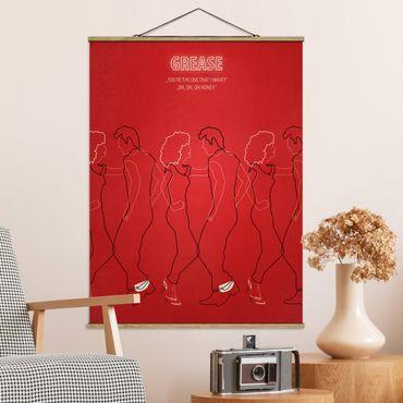 Stoffbild mit Posterleisten - Filmposter Grease - Hochformat 3:4