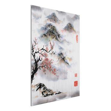 Aluminium Print gebürstet - Japanische Aquarell Zeichnung Kirschbaum und Berge - Hochformat 4:3