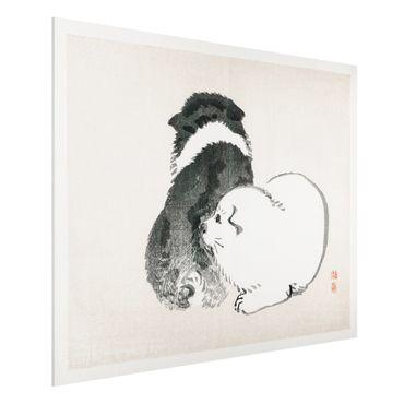 Forex Fine Art Print - Asiatische Vintage Zeichnung schwarze und weiße Hündchen - Querformat 3:4