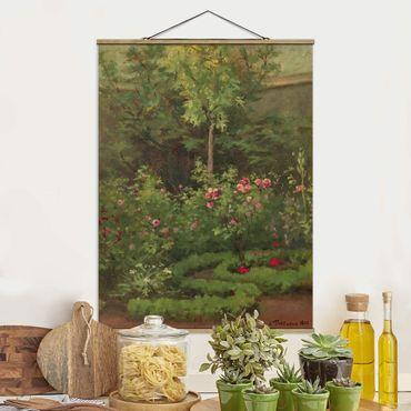 Stoffbild mit Posterleisten - Camille Pissarro - Ein Rosengarten - Hochformat 4:3