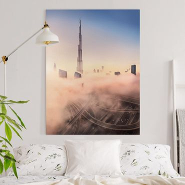 Leinwandbild - Himmlische Skyline von Dubai - Hochformat 4:3