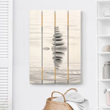 Holzbild - Steinturm im Wasser Schwarz-Weiß - Hochformat 3:2