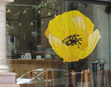 Fensterfolie - Fenstersticker - No.UL617 Gelbe Mohnblüte - Fensterbilder Frühling