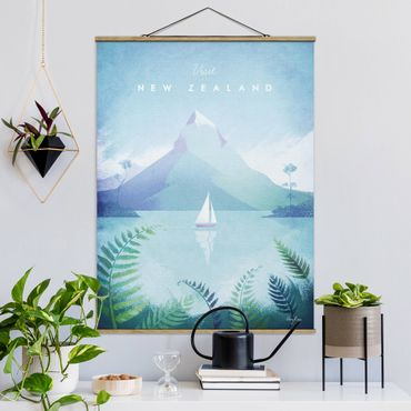 Stoffbild mit Posterleisten - Reiseposter - Neuseeland - Hochformat 4:3