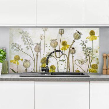 Spritzschutz Glas - Mohn und Helenium - Querformat - 2:1