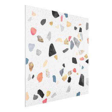Forex Fine Art Print - Weißer Terrazzo mit Goldsteinchen - Quadrat 1:1