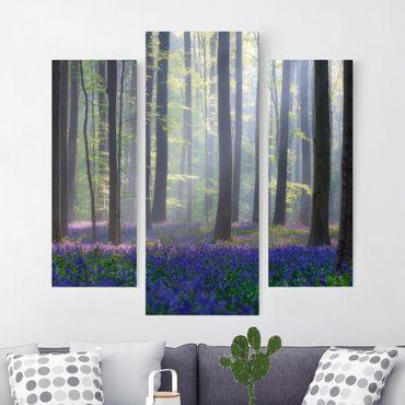 Leinwandbild 3-teilig - Frühlingstag im Wald - Galerie Triptychon