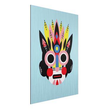 Aluminium Print gebürstet - Collage Ethno Maske - Gesicht - Hochformat 4:3