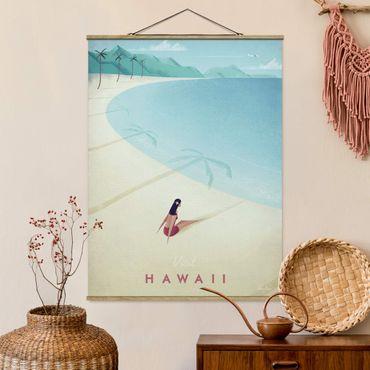Stoffbild mit Posterleisten - Reiseposter - Hawaii - Hochformat 4:3