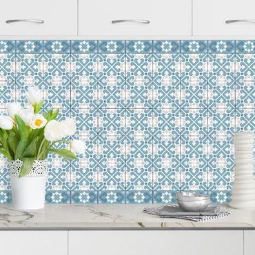 Küchenrückwand - Geometrischer Fliesenmix Herzen Blaugrau