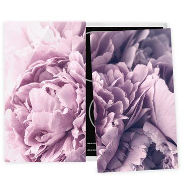 Herdabdeckplatte Glas - Lila Pfingstrosenblüten - 52x80cm