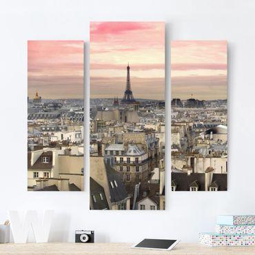 Leinwandbild 3-teilig - Paris hautnah - Galerie Triptychon