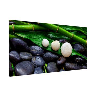 Magnettafel - Grüner Bambus mit Zen Steinen - Memoboard Panorama Querformat 1:2
