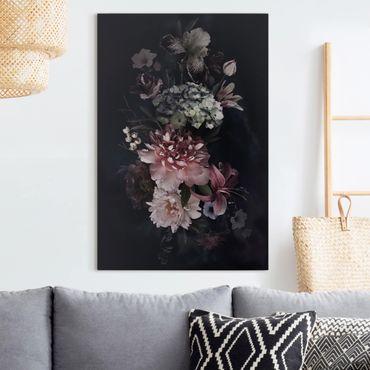 Leinwandbild - Blumen mit Nebel auf Schwarz - Hochformat 3:2