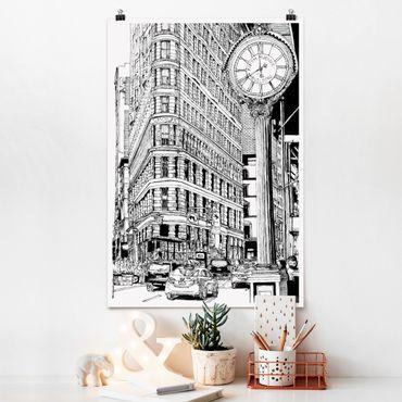 Poster - Stadtstudie - Flatiron Buidling - Hochformat 3:2