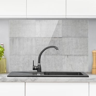 Spritzschutz Glas - Beton Ziegeloptik grau - Querformat - 3:2