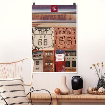 Poster - Route 66 - Collage Rostige Schilder - Hochformat 3:2