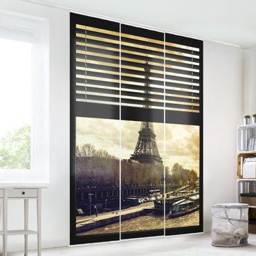 Schiebegardinen Set - Fensterausblick Jalousie - Paris Eiffelturm Sonnenuntergang - Flächenvorhänge